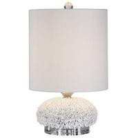 Uttermost 29665-1 Dellen 17 inch 100 watt Floral Accents and Polished Nickel with Crystal Buffet Lamp Portable Light