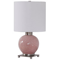 Uttermost 29667-1 Rhoda 21 inch 150 watt Mottled Soft Pink Glaze and Brushed Nickel Buffet Lamp Portable Light 29667-1_A.jpg thumb