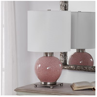 Uttermost 29667-1 Rhoda 21 inch 150 watt Mottled Soft Pink Glaze and Brushed Nickel Buffet Lamp Portable Light 29667-1_A1.jpg thumb