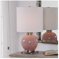 Uttermost 29667-1 Rhoda 21 inch 150 watt Mottled Soft Pink Glaze and Brushed Nickel Buffet Lamp Portable Light 29667-1_Lifestyle.jpg thumb
