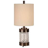 Uttermost 29671-1 Thorton 21 inch 100 watt Dark Bronze and Spiral Textured Glass Buffet Lamp Portable Light