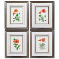 Uttermost Orange Flowers Set of 4 Wall Art 33588