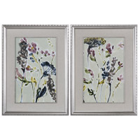 Parchment Antique Silver Leaf with Black Wash Print, Set of 2, Flower Field