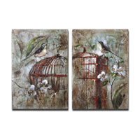 Birds In A Cage Frameless Stretched Canvas Wall Art
