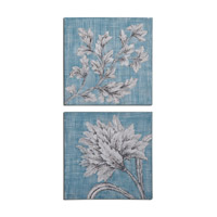Uttermost Teal Florals Set of 2 Floral Art 34286