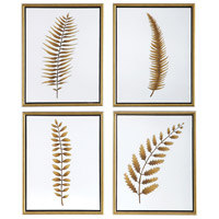 Forest Ferns 20 X 16 inch Hand Painted Canvas, Floral Art, Set of 4