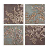 Uttermost Damask Relief Blocks Set of 4 Art 35223
