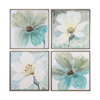 Uttermost Florals In Cream And Teal Art in Silver 35332