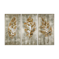 Champagne Leaves Burnished Champagne Art, Hand Painted, Set of 3