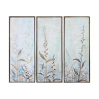 Shining Florals Champagne Silver Art, Hand Painted, Framed, Set of 3