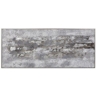 Weathered Stone 74 X 31 inch Hand Painted Canvas, Abstract Art
