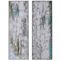 Aged Fences 61 X 21 inch Hand Painted Canvas, Abstract Art, Set of 2