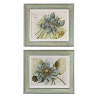 Uttermost Blue Lotus Flower I II Set of 2 Art 41325