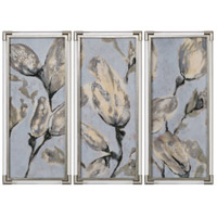 Flower Bud Clear and Metallic Silver Leaf Triptych, Set of 3