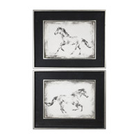 Equine Study Faux Black Leather Horse Art