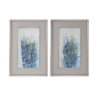 Indigo Florals Distressed Silver Floral Wall Art