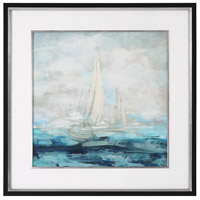 Into The Distance Black Satin with Silver Leaf Print, Sailing