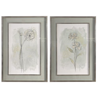Stone Flower Study 40 X 28 inch Floral Prints, Set of 2
