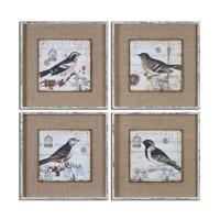 Uttermost Black And White Birds Set of 4 Bird Art 55008
