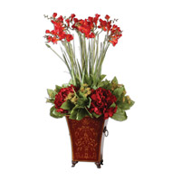Uttermost Red Freesia In English Tole Planter Botanicals 60099