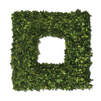 Uttermost Preserved Boxwood Square Wreath Botanical in Natural Evergreen Foliage 60109