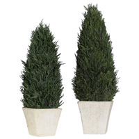 Cypress Aged Stone Topiaries, Set of 2