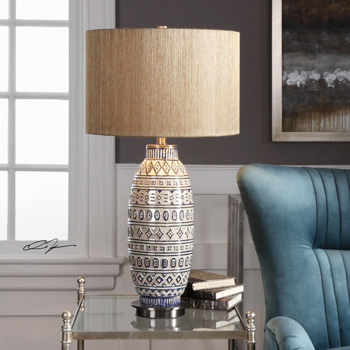 Uttermost 27582 Lokni 30 Inch 150 Watt Aged Ivory Ceramic Table Lamp