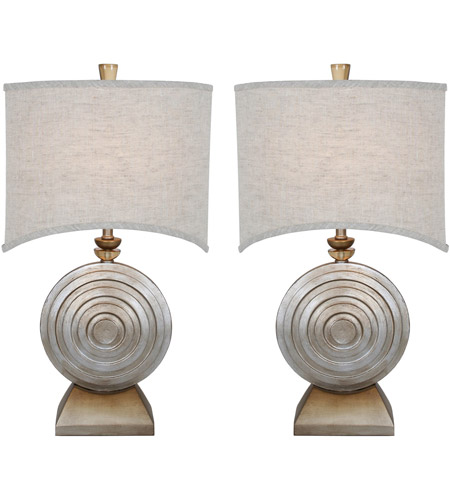 Brilliant Silver Jacobean Fabric Table Lamps
