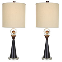 Van Teal 130772PR Occasion 36 inch 150 watt Silver Jacobean and Cafe Noir Table Lamp Portable Light You Will Remember Set of 2