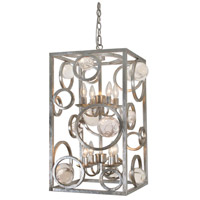 Silver Wheels 8 Light 14 inch Silver Leaf Antique Pendant Ceiling Light, Free Wheeling
