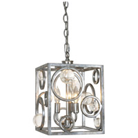 Silver .999 3 Light 10 inch Silver Leaf Antique Chandelier Ceiling Light, Free Wheeling