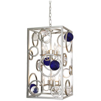 Cobalt Wheels 8 Light 14 inch Silver Jacobean Chandelier Ceiling Light