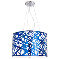 Iridium 3 Light 19 inch Royal Blue Chrome Pendant Ceiling Light, Illusion