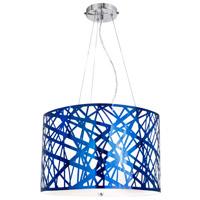 Van Teal 813050 Iridium 3 Light 19 inch Royal Blue Chrome Pendant Ceiling Light Illusion
