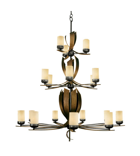 Varaluz Aizen 18 Light Chandelier in Hammered Ore w/ Aspen Bronze Accents 112C18B photo