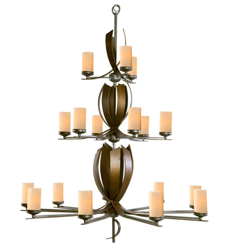 Varaluz Aizen 18 Light Chandelier in Hammered Ore w/ Aspen Bronze Accents 112C18C photo