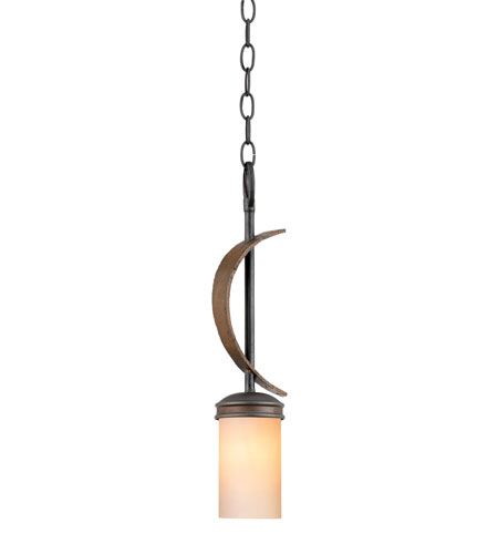Varaluz Aizen 1 Light Mini Pendant in Hammered Ore w/ Aspen Bronze Accents 112M01C photo