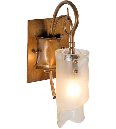 Varaluz 126B01HO Soho 1 Light 5 inch Hammered Ore Vanity Wall Light in Recycled Brown Tint Ice Glass photo