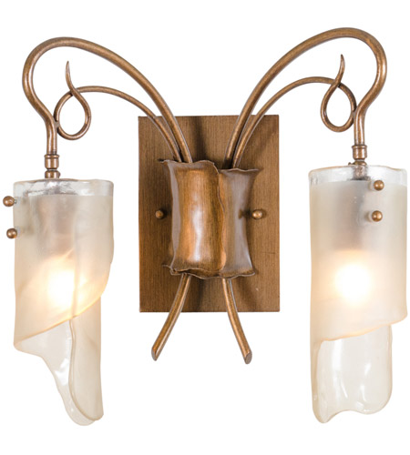 Varaluz 126B02HO Soho 2 Light 15 inch Hammered Ore Vanity Wall Light in Recycled Brown Tint Ice Glass photo