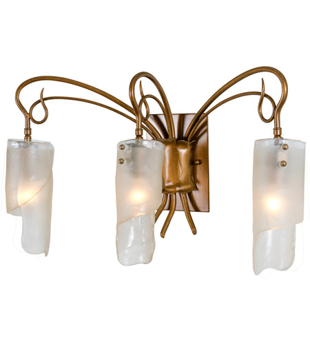 Varaluz 126B03HO Soho 3 Light 23 inch Hammered Ore Vanity Wall Light in Recycled Brown Tint Ice Glass photo