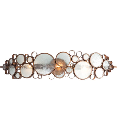 Varaluz 165B03HO Fascination 3 Light 34 inch Hammered Ore Vanity Wall Light in Recycled Clear Bottle Glass photo