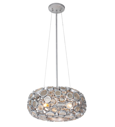 Varaluz 165C03SNV Fascination 3 Light 18 inch Nevada Silver with Random Silver Leafing Pendant Ceiling Light in Recycled Clear Bottle Glass photo