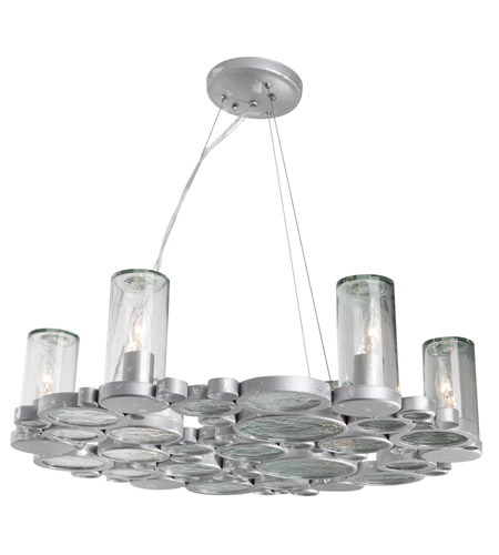 Varaluz Fascination 6 Light Chandelier in Nevada Silver with Random Silver Leafing 165C06 photo