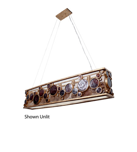 Varaluz 165N05KO Fascination 5 Light 48 inch Kolorado Linear Pendant Ceiling Light in Recycled Amber Bottle Glass photo