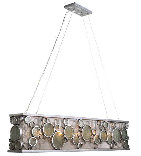 Varaluz 165N05NV Fascination 5 Light 48 inch Nevada Silver with Random Silver Leafing Linear Pendant Ceiling Light photo