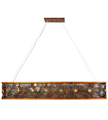 Varaluz Fascination 6 Light Linear Pendant in Hammered Ore 165N06HO photo