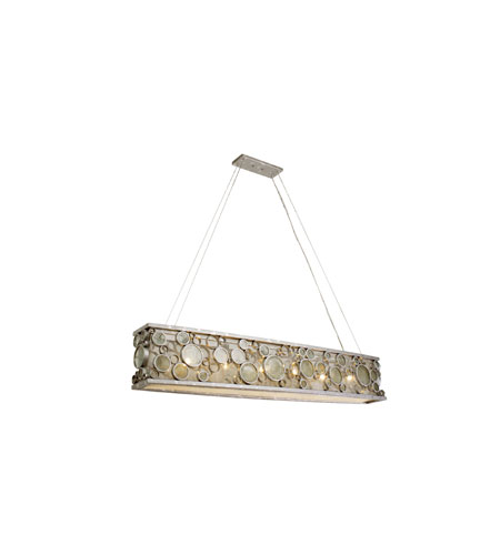 Varaluz Fascination 6 Light Linear Pendant in Nevada Silver with Random Silver Leafing 165N06NV photo
