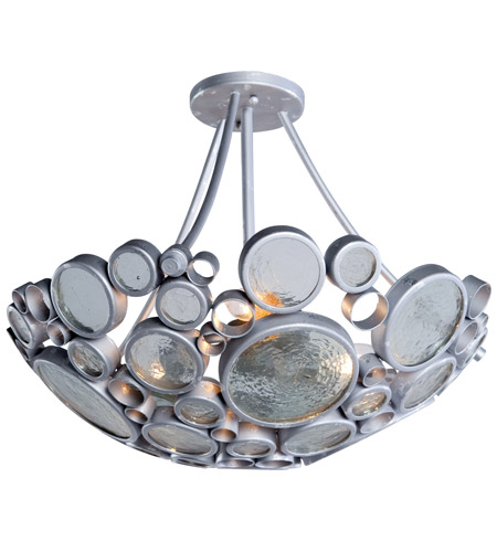 Varaluz 165S03 Fascination 3 Light 20 inch Nevada Silver with Random Silver Leafing Semiflush Ceiling Light photo