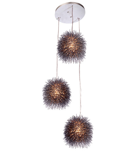 Varaluz Urchin 3 Light Pendant in Painted Chrome 169F03CH photo