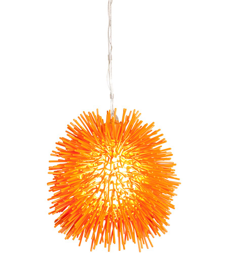 Varaluz Urchin 1 Light Mini Pendant in Electric Pumpkin 169M01OR photo